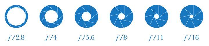 Bländaren skrivs ut med ett f.  Som bilden visar; Ju lägre tal du väljer (tex. f/1,8), ju större blir öppningen i objektivet och desto mer ljus släpps in i kameran. Väljer du tvärt om ett högre tal (tex. f/16), blir öppningen i objektivet mindre och desto mindre ljus släpps in i kameran.