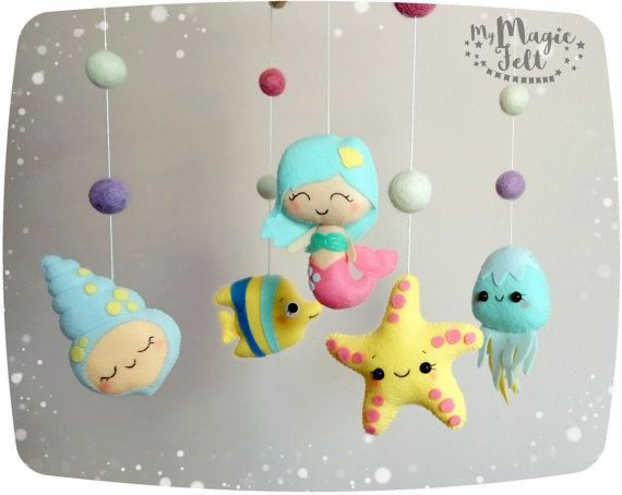 Baby mobile ocean Baby girl mobile mermaid Nursery mobile Ocean baby mobiles Baby girl nursery decorations Mermaid nursery theme