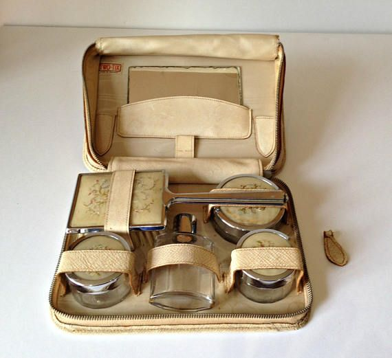 1950s Dressing Table Set, Vintage Travel Set, Leather Travel Set, Vintage Dressing Table Set, Leather Vanity Set, Mid Century Vanity Set