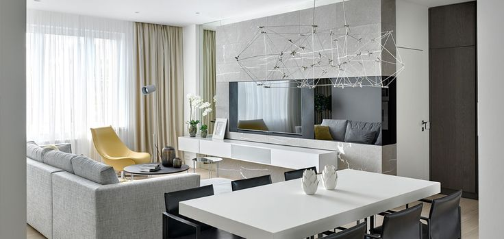 Modern living room design in comfortable Moscow apartment by Russian architect Alexandra Fedorova