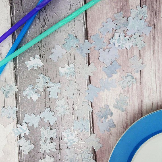 Blue teddy bear confetti Gender reveal Baby shower Baby