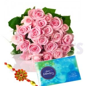 Hand Bunch of Pink Roses wrapped with cellophane sheet Packing with Ethnic Rakhi. • Cadbury Celebration Pack (141 gm). • Your purchase includes a complimentary personalized gift message. #RakhiSpecial #EasyFlowers #MayaFlorist #FlowersDeliveryIndia #MayaFlowers #CityFlowers