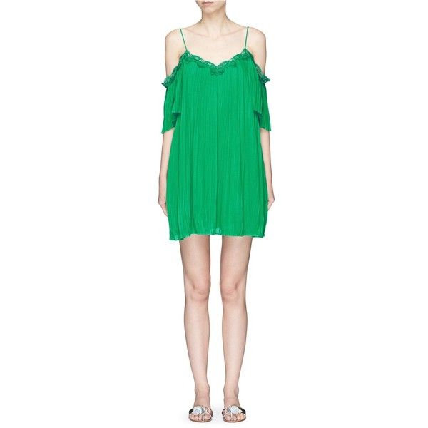 Alice + Olivia 'Mimi' lace trim pleated cold shoulder dress (€260) ❤ liked on Polyvore featuring dresses, green, green pleated dress, open shoulder dress, cold shoulder cocktail dress, cutout shoulder dresses and green color dress