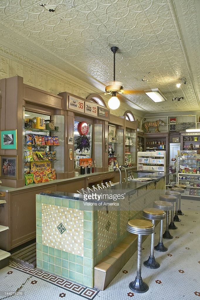 Interior Of Old Drug Store With Bar Stools And Soda