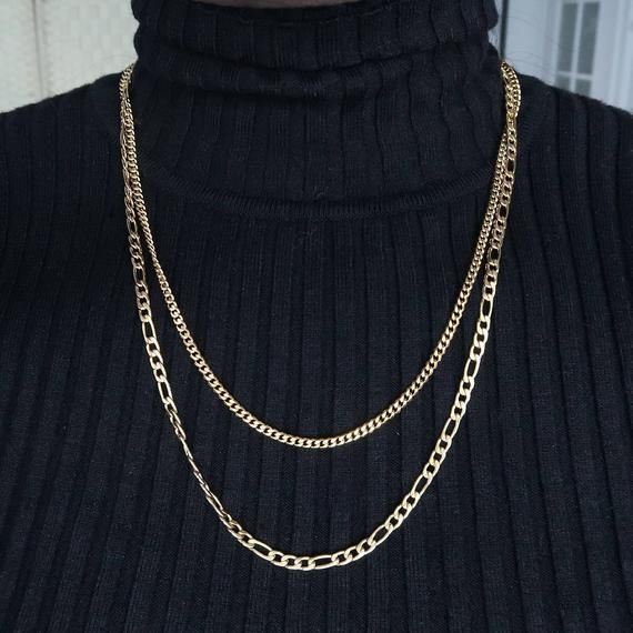 rope necklace 4mm 18k gold Figaro chain Machi Jewelry Layered Necklace set for men necklace for men snake chain layered chain