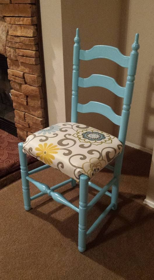 Ladder Back Chair With Satin Aqua Spray Paint And Waverly Pom Pom Spa Fabric