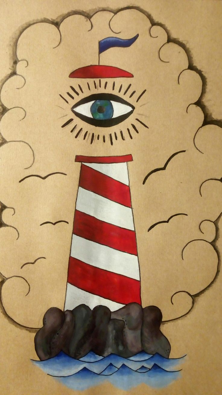 Lighthouse ✨ #picture #paint #kraft #lighthouse #маяк #рисунок #красками #гуашь #крафт #бумага #небо #глаз