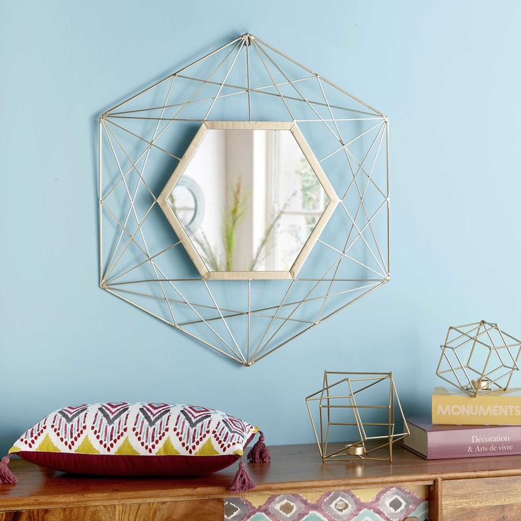 gold metal wire mirror 71 x 81 cm | Maisons du Monde
