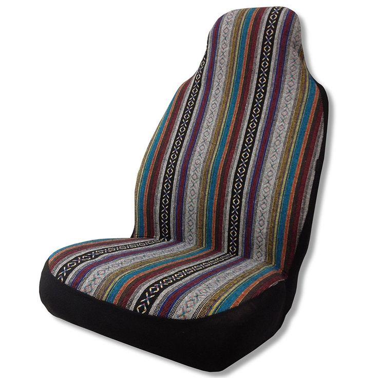 Unique Bucket Saddle Blanket Seat Cover Striped Mexi-Cal Colors - Honda Civic (Color)
