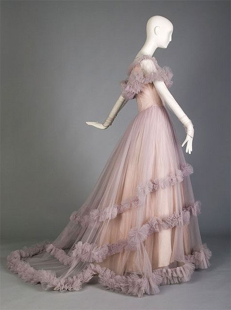 1955 Wedding Gown with Train and Ruffles Late Vintage American