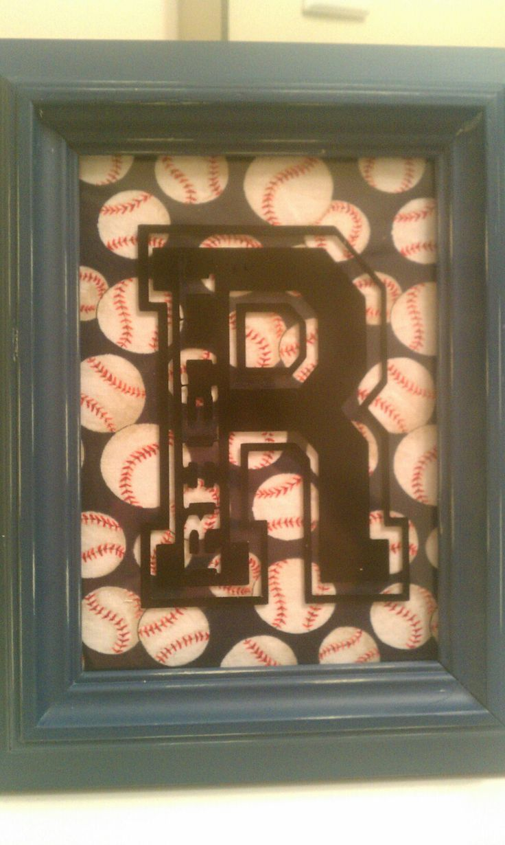 Frame, baseball fabric, and a varsity style letter. //////////////or, easier- scrapbook paper- could do for football and baseball