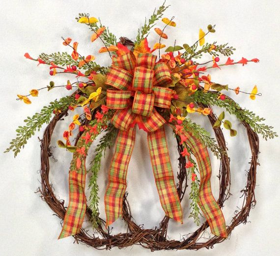 Pumpkin Wreath, Fall Wreath, Fall Door Décor, Harvest Wreath, Autumn Wreath, Grapevine Pumpkin Wreath, Pumpkin, Plaid Ribbon