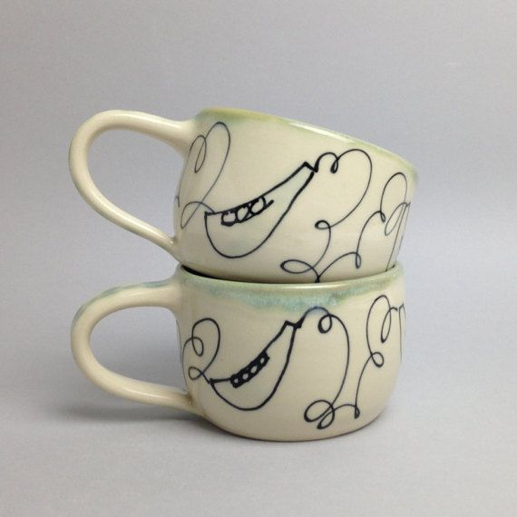Sweet Pea Mug/ Cappuccino /Latte Cup by APrydePottery on Etsy