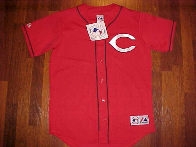 Majestic MLB NL Central Cincinnati Reds Team Logo Red Baseball Jersey M New Free #Majestic #CincinnatiReds