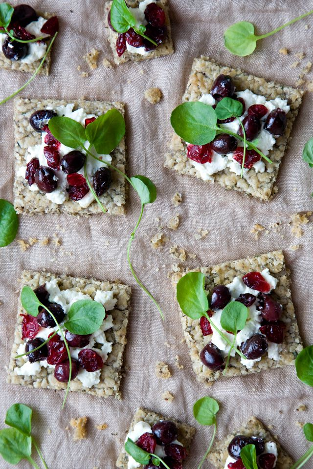 Goat Cheese, Olive, and Cranberry Tartines