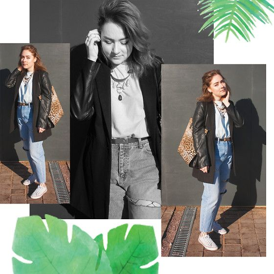 Get this look: http://lb.nu/look/8737233  More looks by Sasha Raduntseva: http://lb.nu/sashasash  Items in this look:  Pull & Bear T Shirt, Zara Jeans, Converse Sneakers, Primark Bag, H&M Necklace, New Yorker  Coat   #casual #minimal #sporty #fishnets #momjeans #instagram