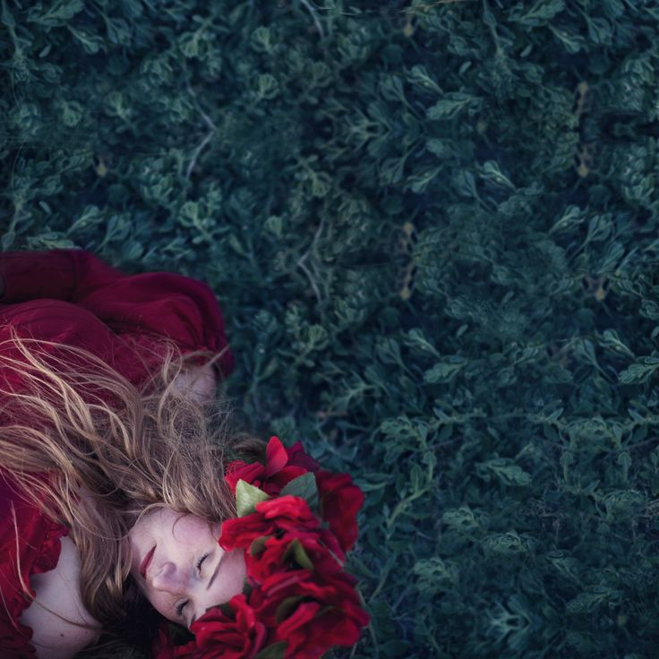 """Dreamy red"" © Natascha van Niekerk Red, in a sea of green… Conceptual portraiture, fine art photography as decor"
