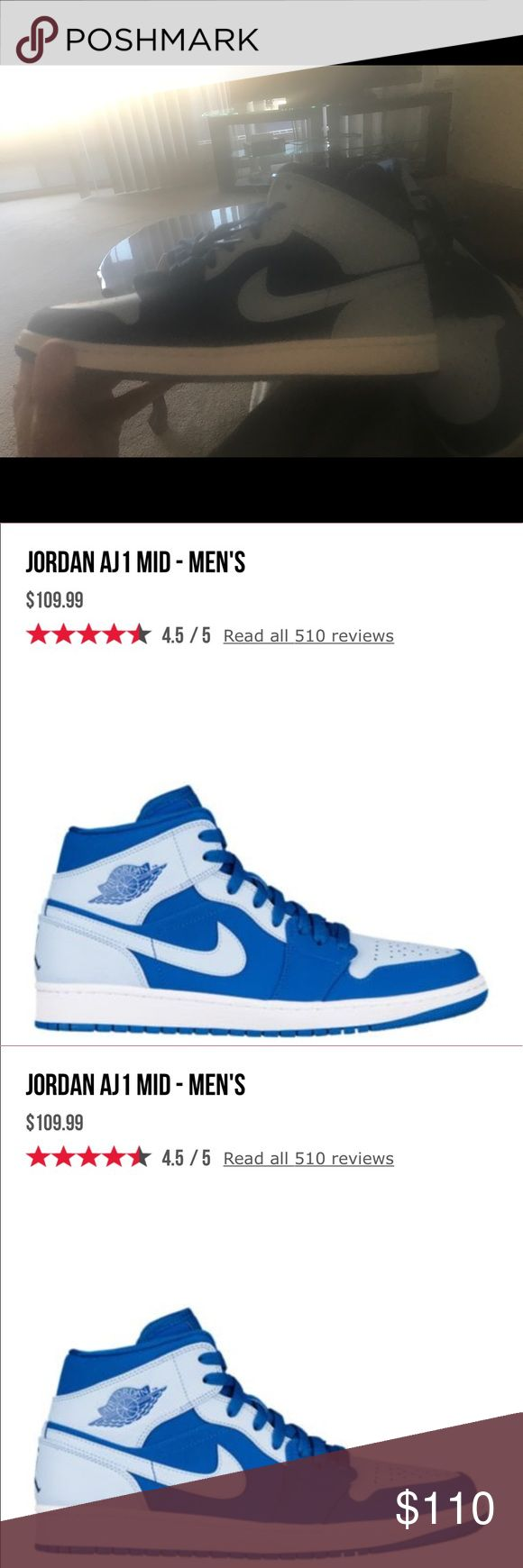Jordan AJ1 mid size 10.5 brand new White and royal blue Jordan ones. I simply ordered two sizes and the 10 1/2's were too small. Decided to sell on here instead.  More photos are available upon request Jordan Shoes Sneakers