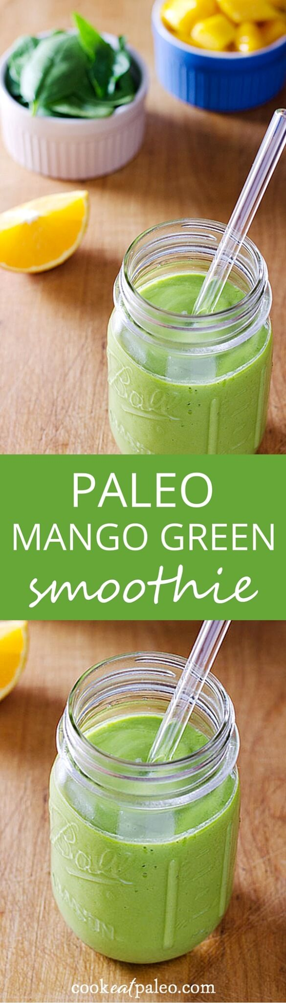 With just four ingredients, this paleo mango green smoothie recipe is like a tropical creamsicle. It's vegan, dairy-free, and sweetened only with fruit.