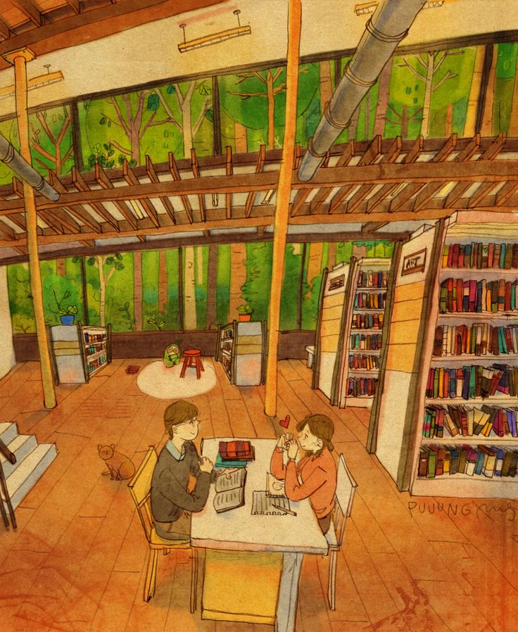 Library in the woods  숲속의 도서관에서 책을 읽어요. 집중하지 못하고 그새 장난을 쳐요. 사랑해! 하트 뿅뿅! 'Reading books in a library in the woods. I just want to play with you when you are around. I love you so much sweetie :)