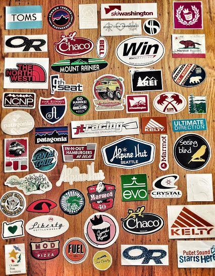 stickers for water bottles, car racks, ski helmets