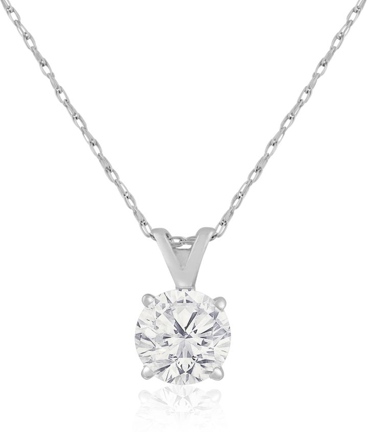 Ice 1 CT TW Diamond 14K White Gold Solitaire Pendant Necklace (LM/I2-I3)