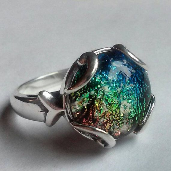 Cremation Jewelry Ring Sterling Silver Ashes in Glass Memorial Urn sizes 7 or 8