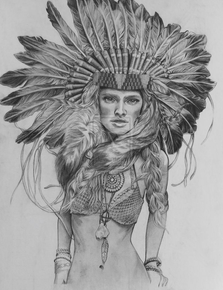 Female Indian Headdress Drawing | Native American ...