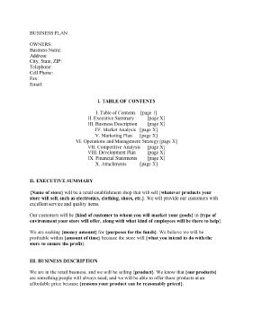A Sample Retail Store Business Plan Template