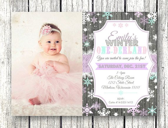 49 best Aubreeu0027s Birthday~ Winter Themes images on Pinterest - invitation for 1st birthday party girl