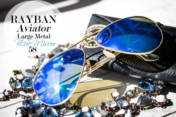 rayban sunglasses blue mirror lens aviator large metal 58