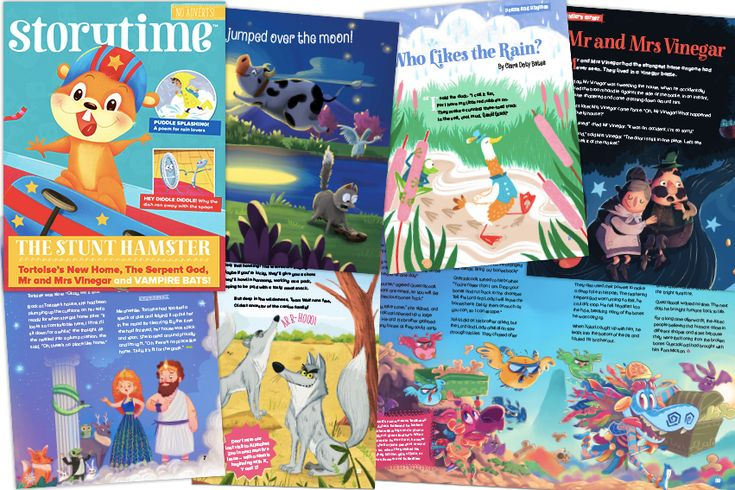 Our wonderful stories and illustrations in Storytime magazine issue 44! Skateboarding hamsters, puddle-splashing, a cow jumping over the moon, vampire bats, wolves, how the tortoise got its shell and more! Subscribe today at http://www.storytimemagazine.com