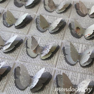 G: Paper Craft, Idea, Art, Book Pages, Card, Grey Butterflies, Paper Butterflies, Crafts