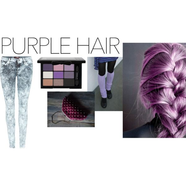 Purple hair by anna-suchodolska on Polyvore featuring 7 For All Mankind, NYX and purplehair