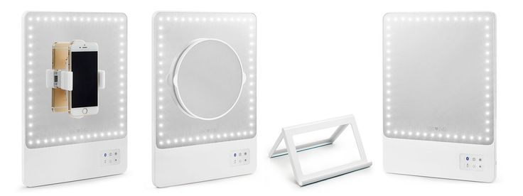 The best portable lighted makeup mirror in the world. Use as a table mirror or bathroom vanity, comes with a magnifying mirror and Bluetooth selfie function.