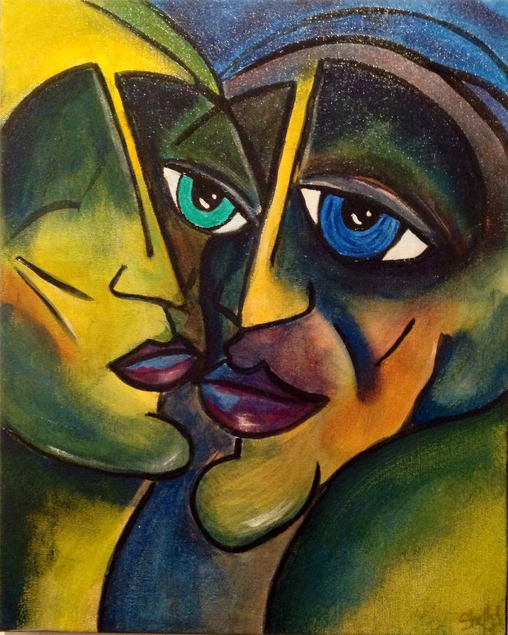 Shelley Bachman is a master at these Picasso style painting. This one done in acrylic is called 'Besties'