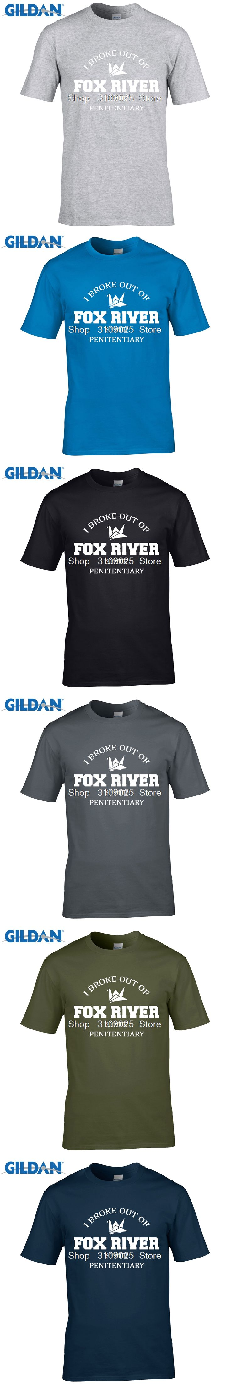 GILDAN funny men t shirt Prison Break Miller Mahone 100% cotton homme T-shirt I broke out of fox river Geek T shirt Summer Men
