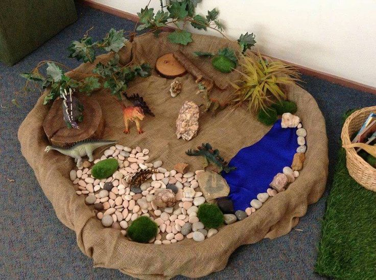 Dinosaur Small World Play- use a small plastic pool to create.   (from Isabella Plains Early Childhood School via FB; https://www.facebook.com/IsabellaPlainsEarlyChildhoodSchool/photos/a.365267700172127.51959.364551280243769/619214064777488/)