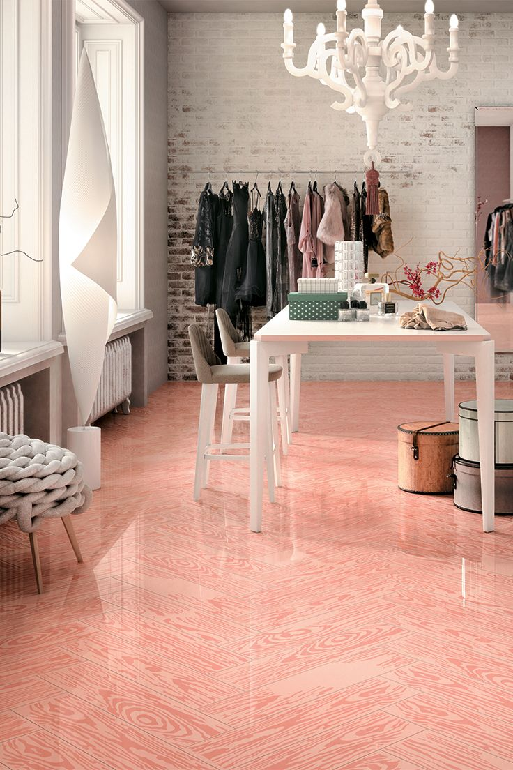 PoP Pink |  PoPjob #colour range includes six #colours characterised by neutral and pastel tones | #design #designinspirations #interior #interiordesign #studiojob #porcelaintile #woodeffect #pink #ceramic #PoPjob