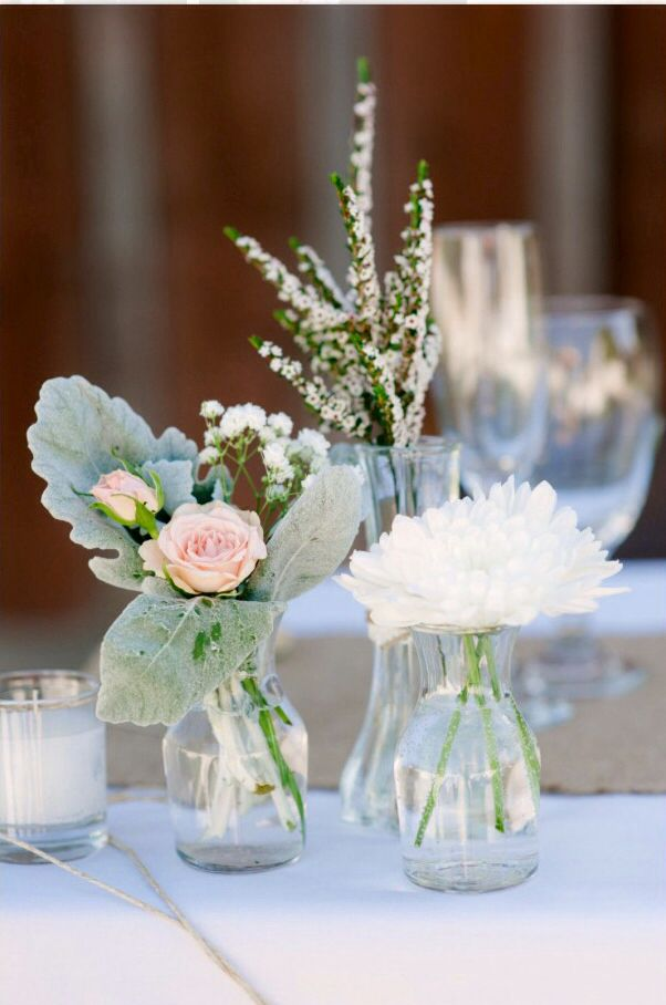 mixed bud vase centerpieces wedding pinterest floral