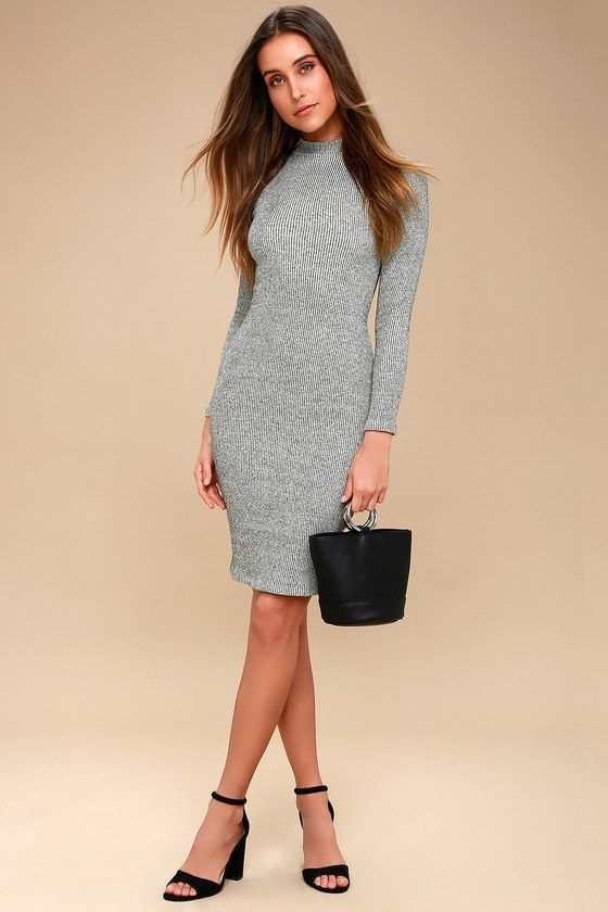 9128c240f2b ... in the I Mist You Heather Grey Midi Sweater Dress! A stylish mock neck  tops this ribbed knit bodycon dress with long sleeves and a chic midi-length  hem.