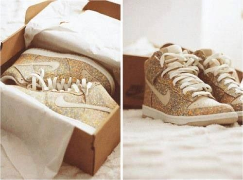 #gold #nike #white #shoes