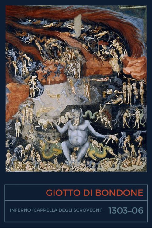 Giotto di Bondone, Inferno (part of Il Giudizio universale / Last Judgement fresco, La Cappella degli Scrovegni), 1303-1306… or maybe we'll starta Giotto a day blog? Because there are too many masterpieces of this guy, just can't get enough.