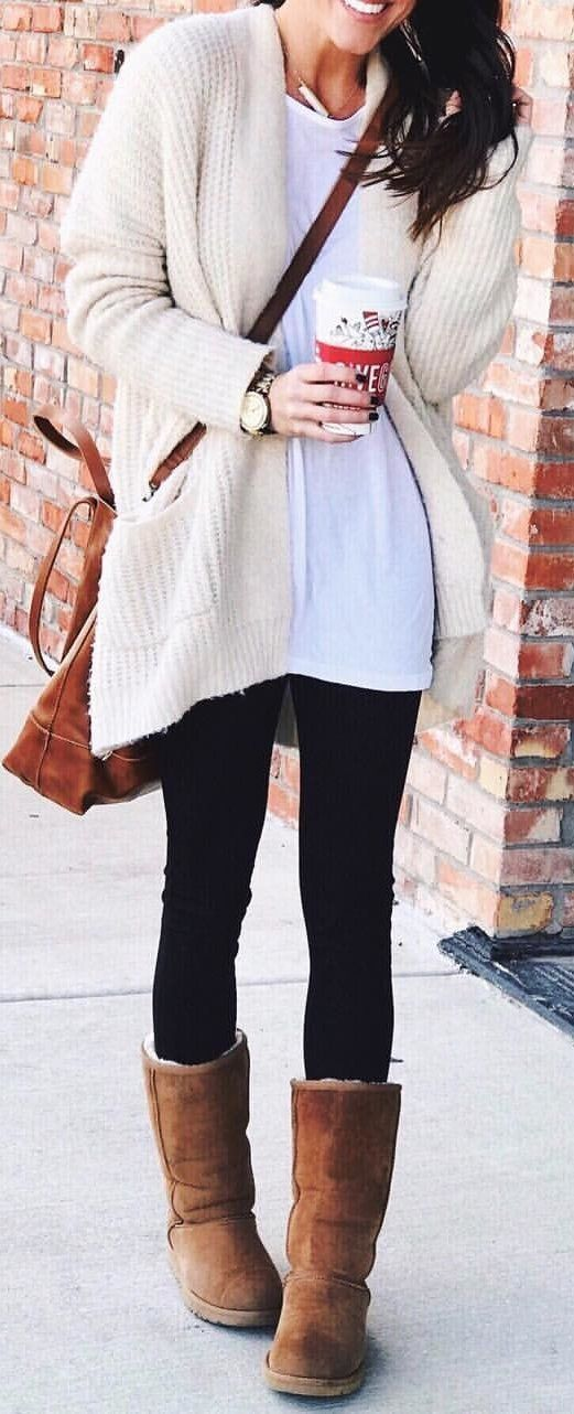 #winter #outfits beige long cardigan