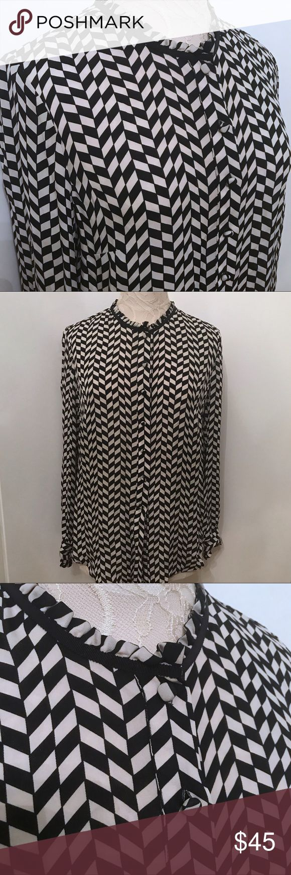 J Crew Silk Black & White Blouse Top sz 8 Light weight 100% silk blouse from J Crew. Tuxedo style collar. Size 8.  Missing last button, otherwise in excellent condition. J. Crew Tops
