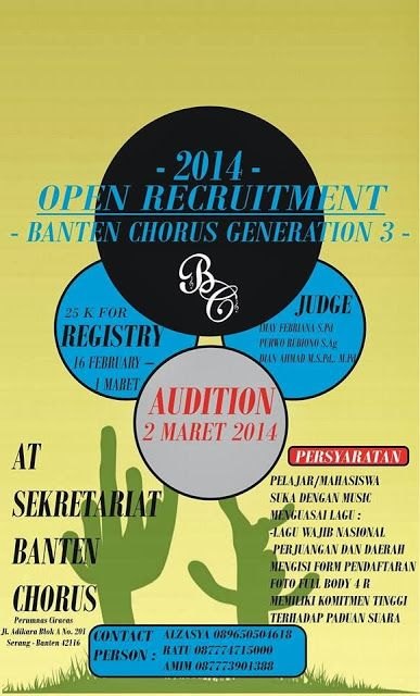 Pamflet Open Recruitment Banten Chorus Generation 3