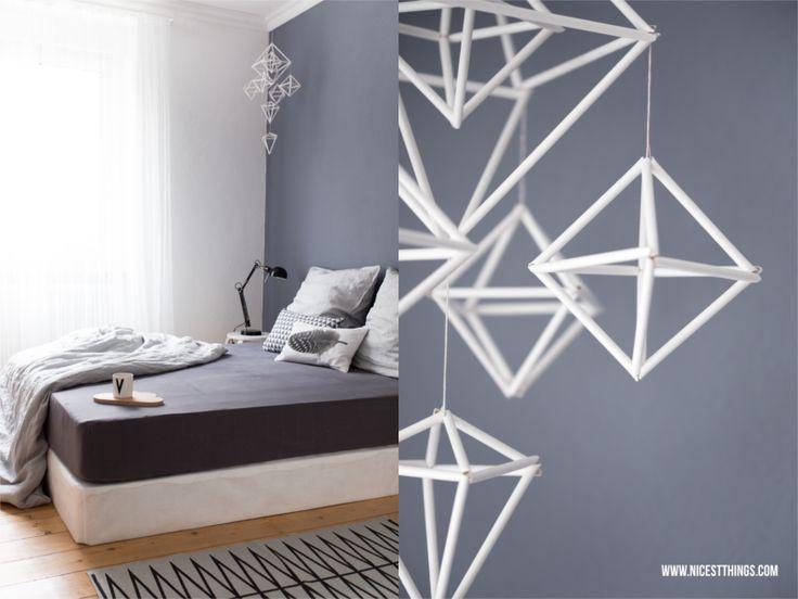 Nicest Things: Bedroom Boxspring Bed Grey Wall Himmeli Mobile // Snug Studio / Design Letters / Ferm Living / Bloomingville / DIY