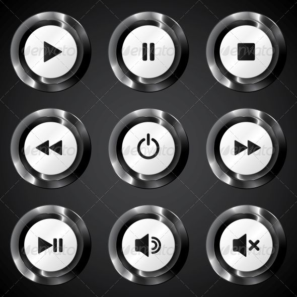 Black Metallic Vector Power Buttons Set by art_of_sun Black metallic vector power button. Editable EPS and Render in JPG format