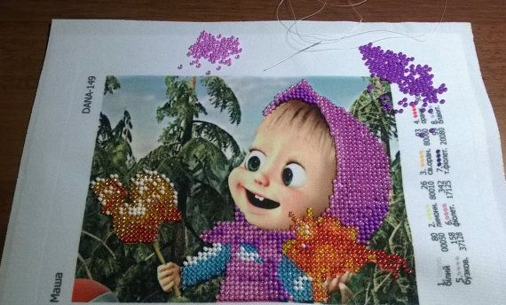 Seed beaded embroidered picture art decoration от LariLaBelle