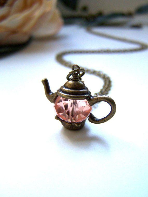 Alice in wonderland inspired teapot necklace pendant heart pink NK087 $25.00